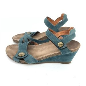 B31) Taos Teal Leather Suede Adjustable Ankle Stra
